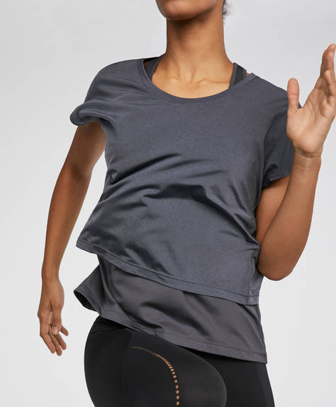 Double-layer T-shirt in greys