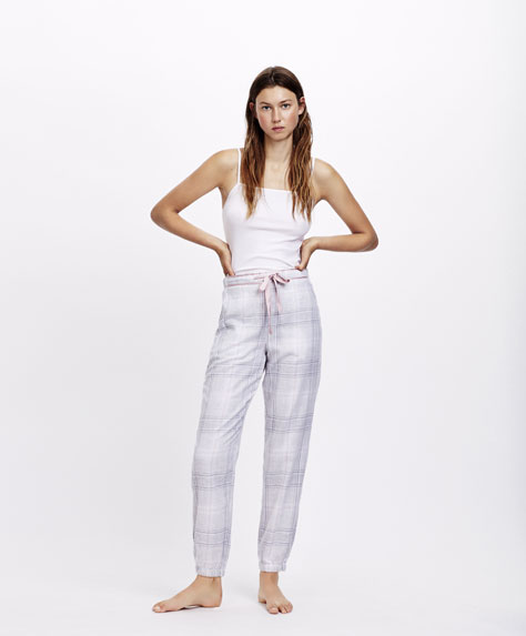 Melange checked trousers