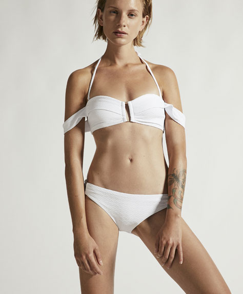 Wavy texture bandeau bikini top