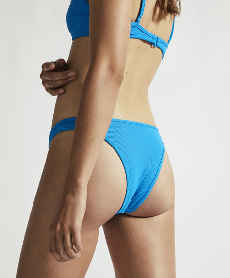 Blue ribbed Brazilian bikini bottoms