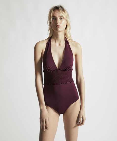 Triangle swimsuit with shirred detail