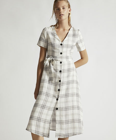 Checked linen dress