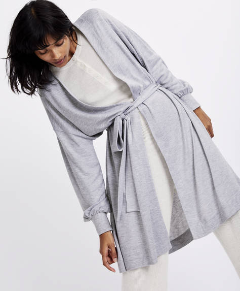 Long sleeve cutwork dressing gown
