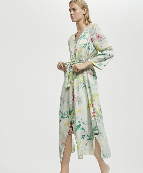 Orchid flower dressing gown