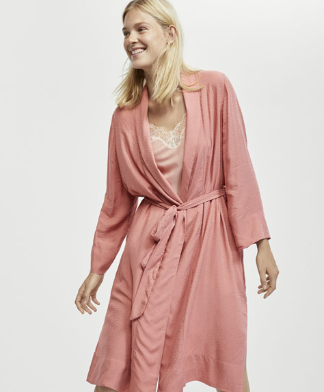 Long pink dressing gown