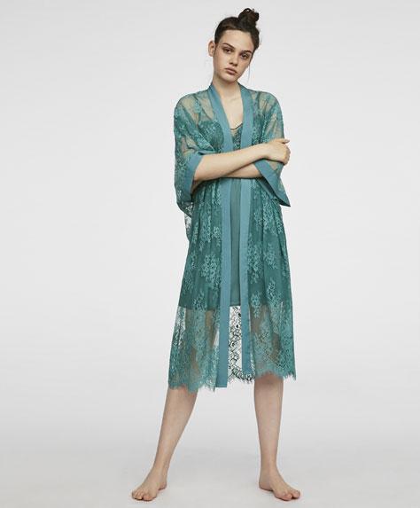 Lace kimono dressing gown