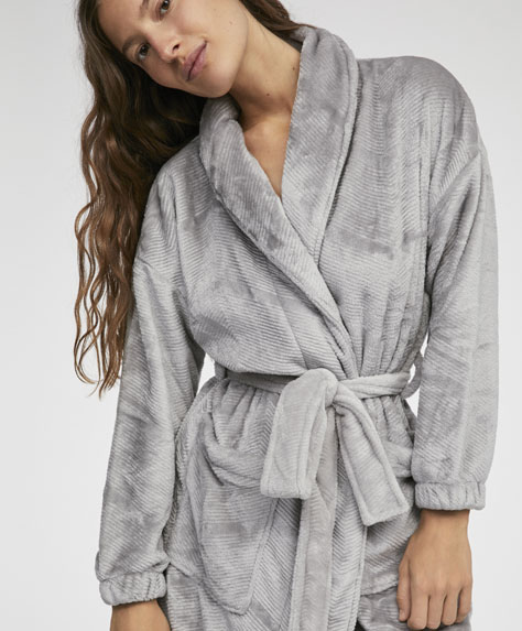 Vertical stripe dressing gown