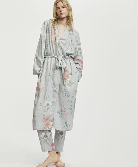 Robe de chambre fleurs mélisse