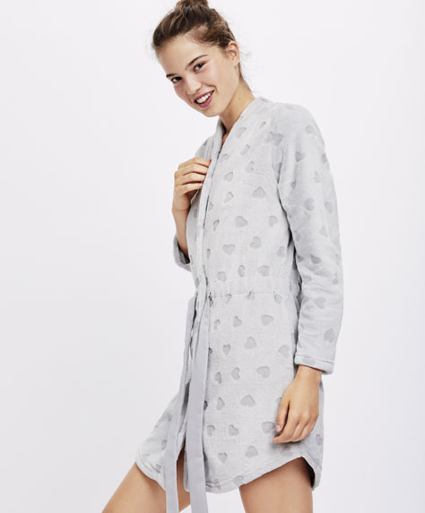 Devoré heart print dressing gown