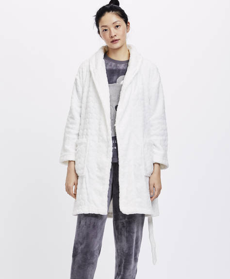 Ecru polka dot dressing gown