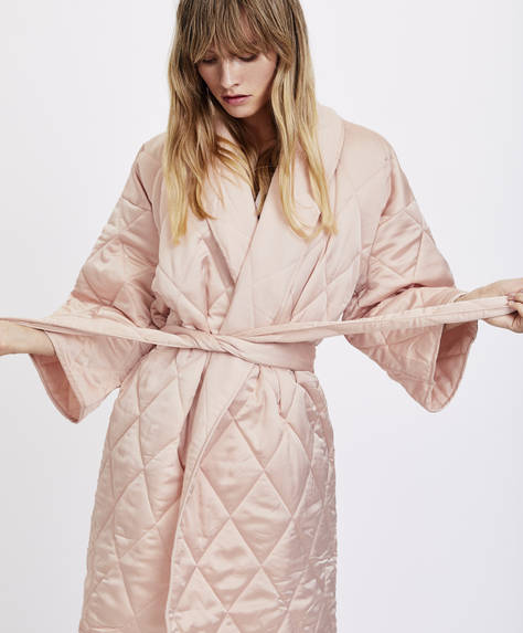 Quilted satin bath robe