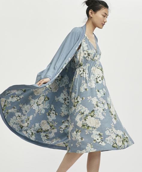 Robe de chambre cretonne bleue