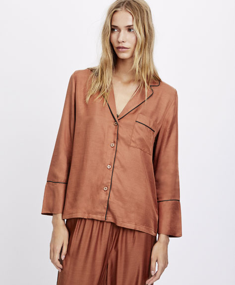 Terracotta shirt with piping