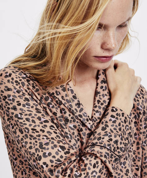 Camicia stampa macchia di leopardo