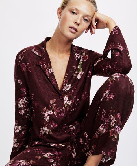 Maroon floral print shirt