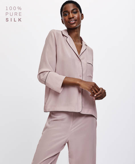Long sleeve mauve silk shirt