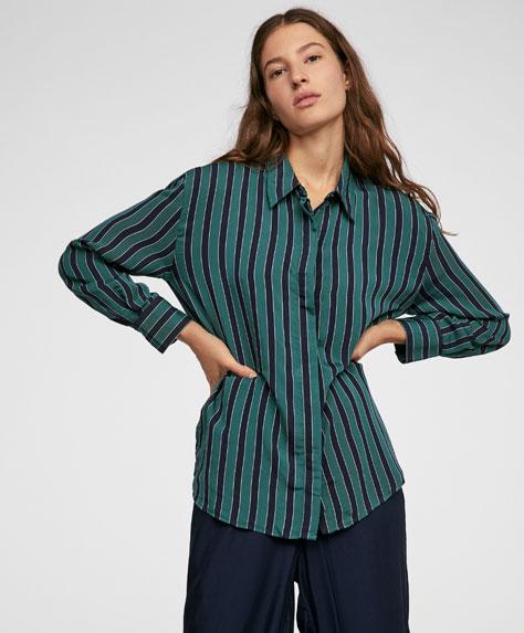 Striped deep green shirt