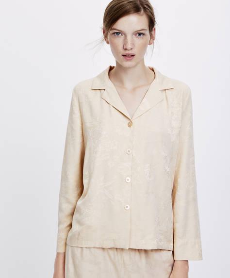 Рубашка с жаккардовым узором в виде крупных цветов