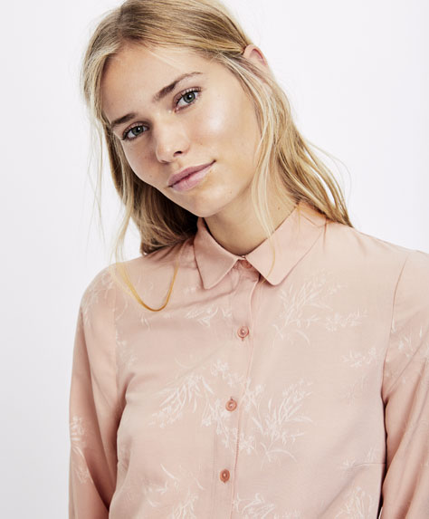 Рубашка с жаккардовым узором «Веточки»