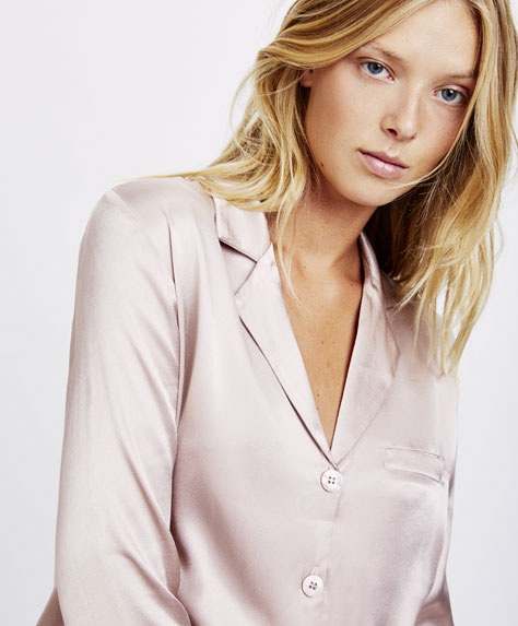 Camicia in satin malva
