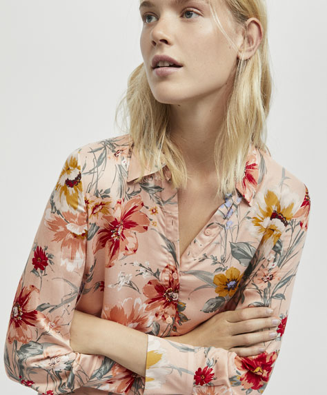 Nude floral print shirt