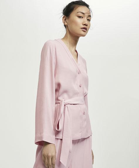 핑크 새틴 셔츠