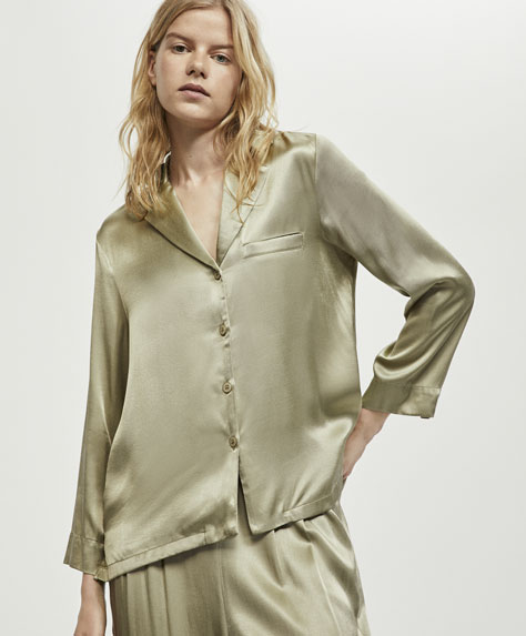 Green satin shirt