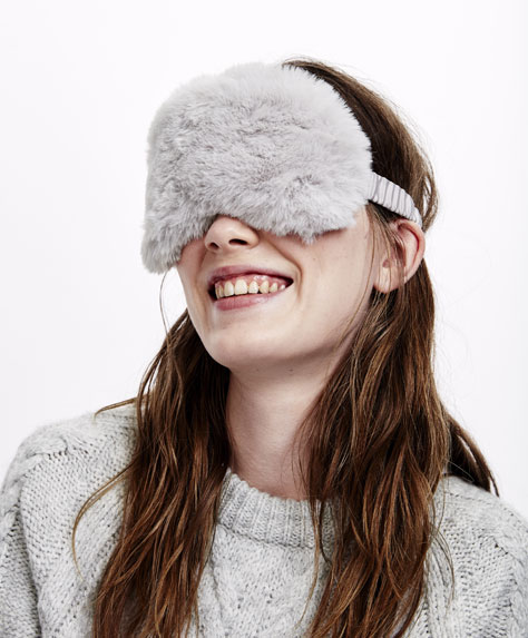 Grey fuzzy eye mask