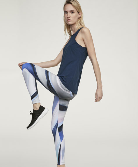 Stripe print ankle-length leggings