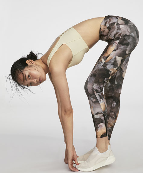 Printed leggings with zips