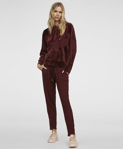 Plush velour trousers