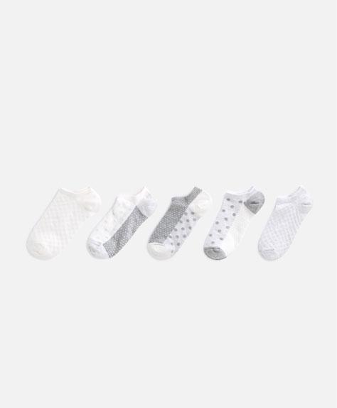 5 paia di calzini con struttura a pois neutri
