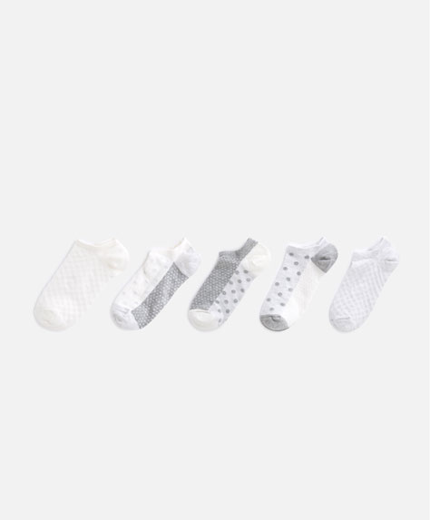 5-pack of neutral-coloured socks with textured polka dots