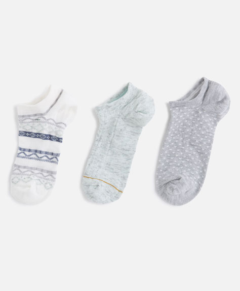 3-pack of blue jacquard socks