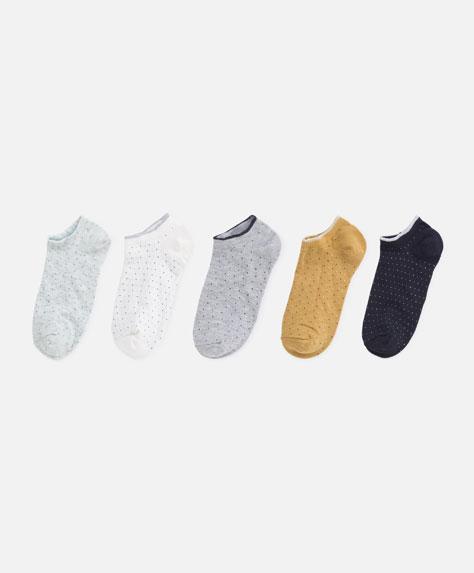 5 paia di calzini con mini pois