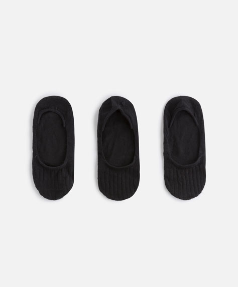 3-pack of ribbed shoeliner socks
