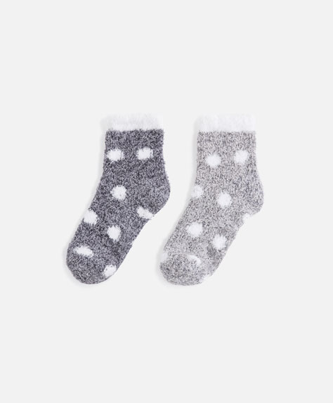 Pack of 2 pairs of polka dot marl fleece socks
