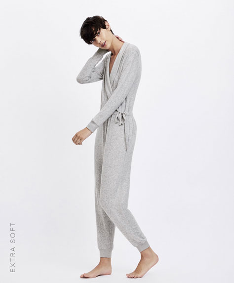 Carded grey marl jumpsuit
