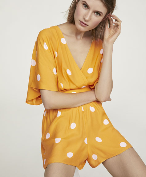 Polka dot short jumpsuit