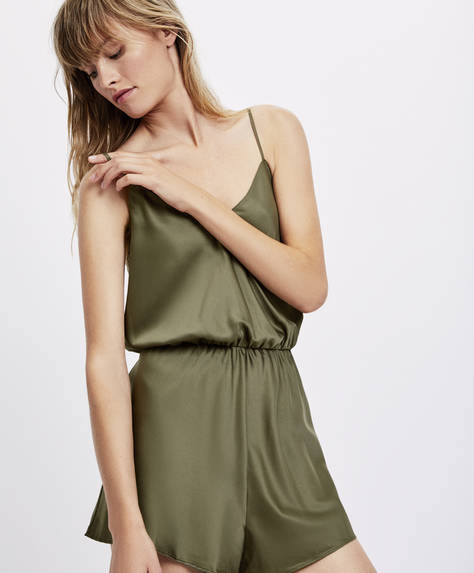 Green satin jumpsuit
