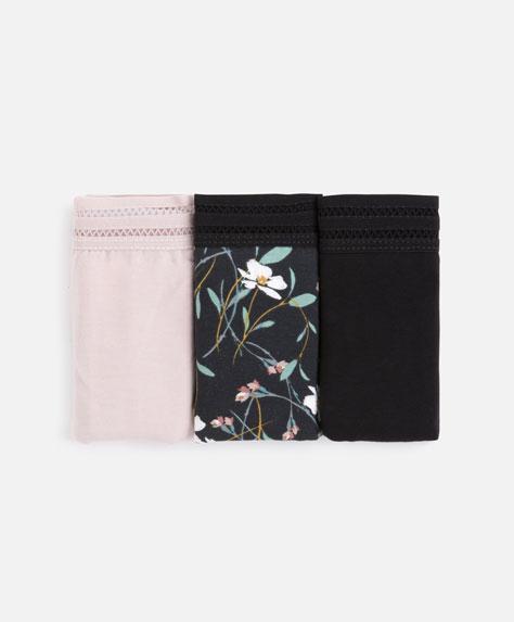 3 floral Brazilian briefs