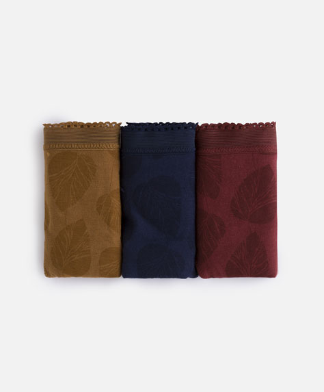 3-pack of leaf-patterned Brazilian briefs