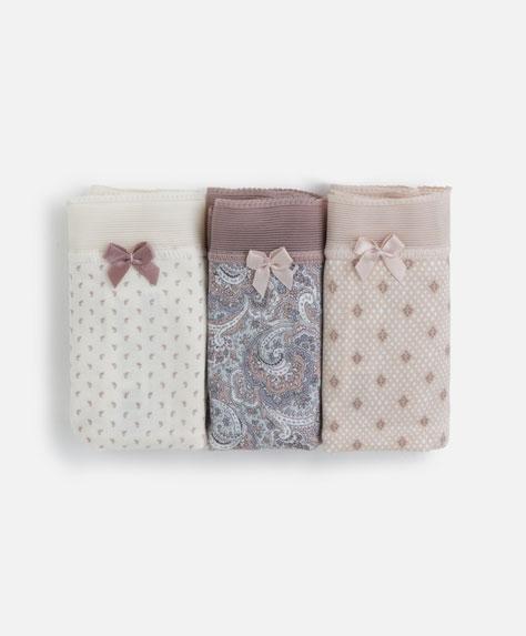 3 braguitas brasileñas cachemir rosa y gris