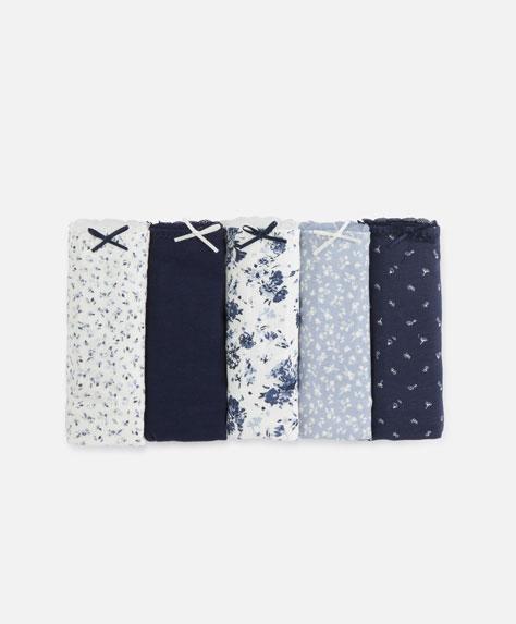 5 klassische Slips mit blauen Blumen