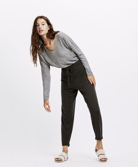 Fine knit trousers
