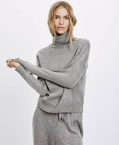 Flecked polo neck jumper