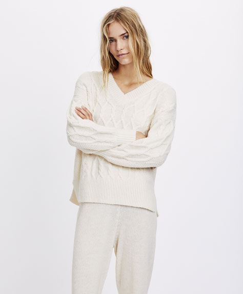 Aran knit V-neck sweater