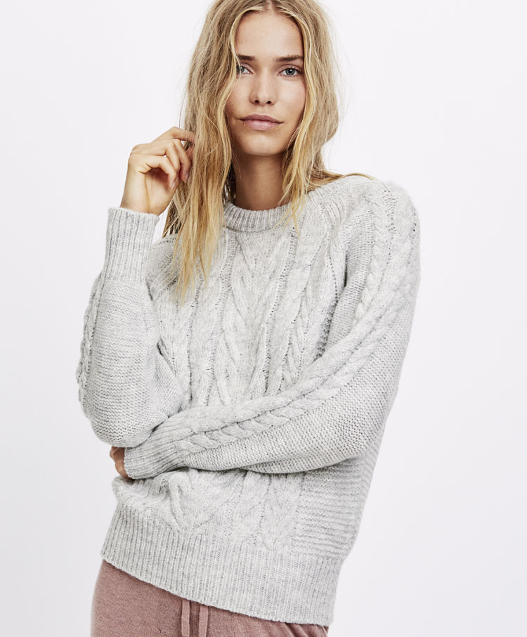 4b9b7232e Round neck Aran knit sweater - New this week - NEW IN