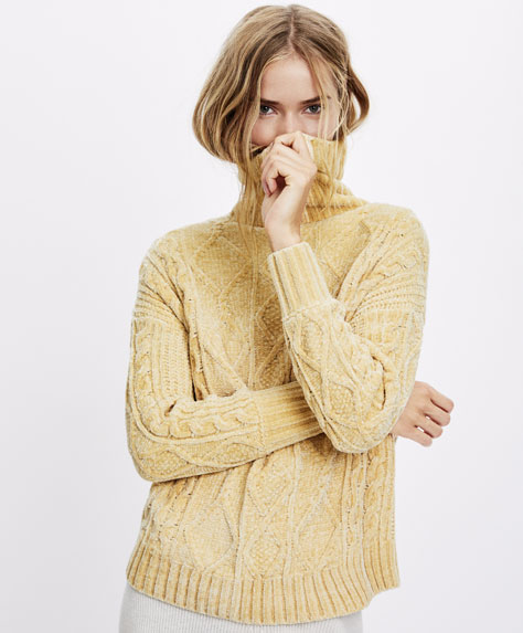Roll neck chenille sweater
