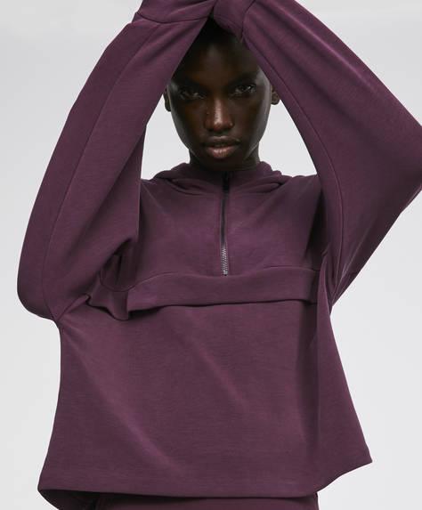 Sweatshirt med aubergine